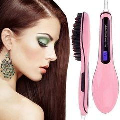 Professional Hair Straightener Comb Brush LCD Display - Pink white one size