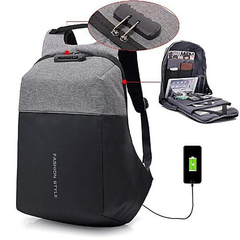 Antitheft Bagpack With PSW Combination-Grey And Black black and grey