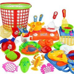 35pcs Plastic Kids Children Kitchen Utensils Food Cooking Pretend Play Toy assorted colour normal size