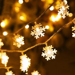 3M LED Snowflake String Lights For Bedroom Outdoor Christmas Decorations Light for Home Wall Garden warm color one size