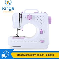 Households Sewing Machine 12-pin Sewing Machines With Foot Pedal Double Threads Ironing & Pressing white