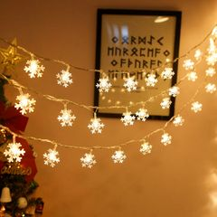 3M LED Snowflake String Lights For Valentine Gifts Bedroom Festival Lights Decorations for Home Wall warm color one size
