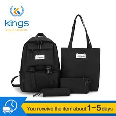 4 pcs Ladies Bags Set Women Laptop Backpack Shoulder Bags Handbag Set SchoolBag Ladies Bags Bookback black one size