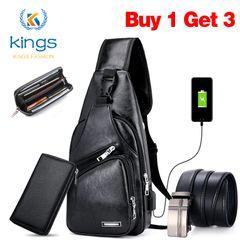 3PCS Men Shoulder Bags Set Wallet Belt Crossbody Chest Sling Messenger Bag USB Leather Waterphroof Black one size