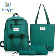 Kings Fashion 4 pcs Ladies Bags Set Laptop Backpack Bookbags Shoulder Bag Handbag SchoolBag Bookback green one size