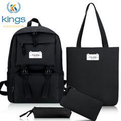 4 pcs Ladies Bags Set Laptop Backpack Bookbags Shoulder Bag Handbag  SchoolBag Canvas Waterproof Black Friday black one size