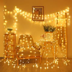 3M Snowflake Style+1.5M Star style LED Lights For Bedroom Festival Lights Christmas Decorations for Home Wall Gift warm color one size