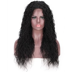 Synthetic Curly Senegalese Twist Braids Wig Lace Front Wig for Black Women 1B# 26 Inches