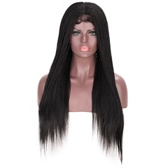 Synthetic Straight Senegalese Twist Braids Wig Lace Front Wig for Black Women 1B# 26 Inches