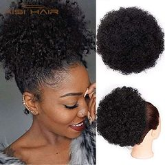 Fast Delivery Afro Puff Kinky Curly Drawstring Ponytail Bun Syntheeic Hair updo Hair Extension 1b# Short