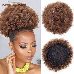 Fast Delivery Afro Puff Kinky Curly Drawstring Ponytail Bun Syntheeic Hair updo Hair Extension 1b-30# Short