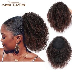 AISI HAIR Short Kinky Curly Hair Extension Mixed Color Ponytail Clips in Hair for Women 1b-33# 8 inches