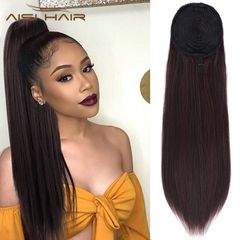 AISI HAIR Long Silky Straight Hair Extension Synthetic Clip in Hair Ponytail Mixed Colors Hair 2-33# 22 inches