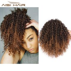 1-5 Working Days Delivery Short Kinky Curly Hair Extension Mixed Color Ponytail for Women 1b-30# 8 inches