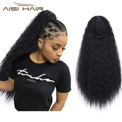 Fast Delivery 1-5days Drawstring Ponytail Long Curly Hair Extension Synthetic Clip in Hair for Women 1B# 22 inches