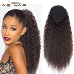 Fast Delivery 1-5days Drawstring Ponytail Long Curly Hair Extension Synthetic Clip in Hair for Women 2-33# 22 inches