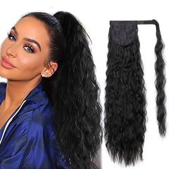Fast Delivery 1-5days Corn Wavy Long Ponytail Synthetic Hairpiece Wrap on Clip Black Hair Extensions 1b 22 inches