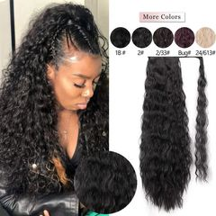 Fast Delivery 1-5days Corn Wavy Long Ponytail Synthetic Hairpiece Wrap on Clip Black Hair Extensions 2# 22 inches
