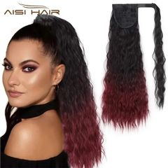 Fast Delivery 1-5days Corn Wavy Long Ponytail Synthetic Hairpiece Wrap on Clip Black Hair Extensions 1b-bug# 22 inches