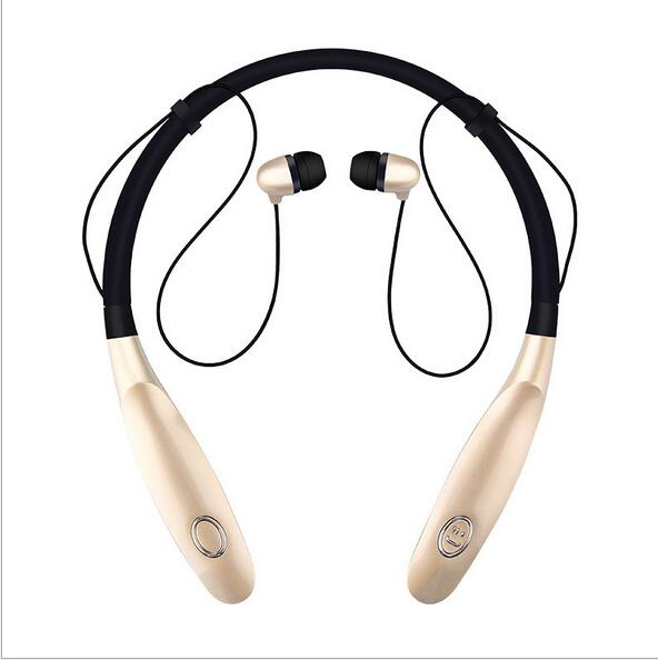 Bluetooth Headsets Neck Mounted Sports Earphone 200 Hours Standby Time Earpiece Headphone for Phone gold one size