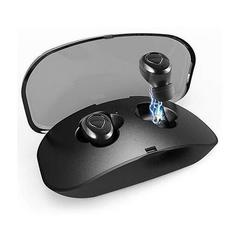 Bluetooth Earphone Double In-Ear Earbud Earpiece Wireless Sports Headsets with Portable Charge Box black one size