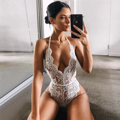 New women's halter lace halter lace jumpsuit women white S