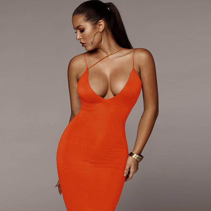 Summer new women's sling V-neck close sexy bag hip dress female S orange