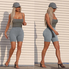 High waist sweatpants running sports hips tight yoga pants shorts hot pants gray S