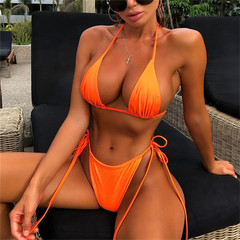 Halter short vest with briefs bikini suit female orange S
