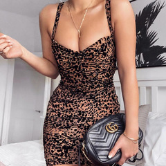 Summer new women's sling backless sexy word collar leopard dress m leopard