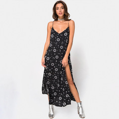 Summer new women's fashion print V-neck sling sexy split backless dress s black