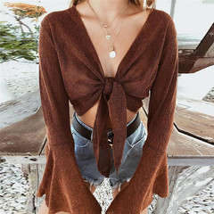 Trumpet sleeves with cardigan Slim short cropped navel solid color T-shirt female brown s
