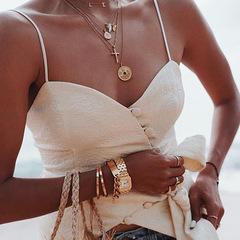 New women's sling V-neck single-breasted halter sexy vest white s
