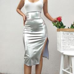 New women's high waist bag hip split sexy midi skirt s silver