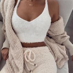 New women's V-neck solid color short section slim vest women white s