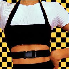 Women's hanging neck solid color hollow umbilical vest black s