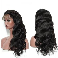 Lace Frontal Wigs Pre Plucked With Baby Hair Peruvian Body Wave Human Hair Bleached Knots natural black color 8''