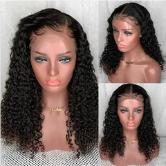 13*4 Lace Front Curly Human Hair Wigs Pre Plucked With Baby Hair Peruvian Wig Human Hair Wigs natural black color 8''