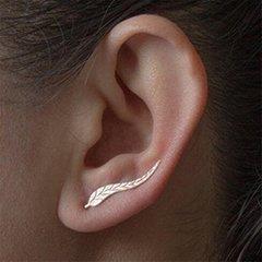 Ear Crawler Cuff Earrings Ear Climber Studs Tree Leaf Jewelry for Women gold one size