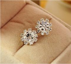 Fashion New Women's Fashion Girls Trendy Sun Flower Stud Earrings Ear Studs Silver Earring silver one size