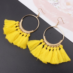 Bohemian Drop Dangle Long Rope Fringes Cotton Tassel Earrings Trendy Sector Earrings  Jewelry Yellow one size