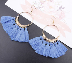 Bohemian Drop Dangle Long Rope Fringes Cotton Tassel Earrings Trendy Sector Earrings  Jewelry Blue one size