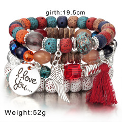 Crystal Bead Bracelets  Vintage Bracelet Jewelry Tassel Natural Stone Charms Wristband Gift pulseira colorful one size