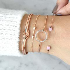 4Pcs Trendy Bracelet Set Simple Female Jewelry Knot Circle Crystal Arrow Charm Bracelets gold one size