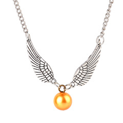 Harry Movie golden snitch  Necklace Vintage silver bronzefly wings bead Pendant Necklace Jewelry silver one size