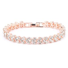 Roman Fashion Women Bracelet Female Crystal Bracelet Ring Exquisite Luxury Jewelry gold 16.5CM