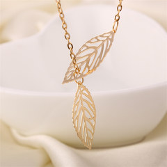 Leaf Choker necklace big double two metal leaves pendant jewelry for women  fashion hot sale gold one size