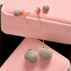Fashion 1 Pair Women Ball Double-sided Earrings Long Dangle Jewelry Charm Hot grey one size