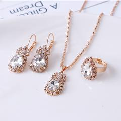 Fashion Waterdrop Shiny Rhinestones Necklace Ring Earrings Women Jewelry Set Elegant Luxury Design silver one size