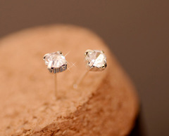 fashion diamond jewelry stud 925 sterling silver,Cute six claw earrings  new gold one size